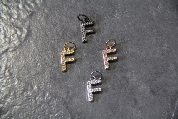 """CZ Micro Pave Letter """"F"""" Charm with Jump Ring"""