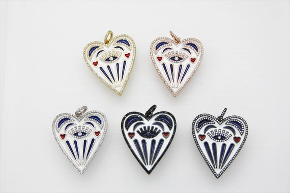 CZ Micro Pave Enamel 38x42mm Poker Heart