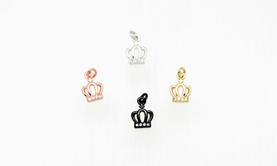 CZ Micro Pave 8mm Crown Charm with Jump Ring