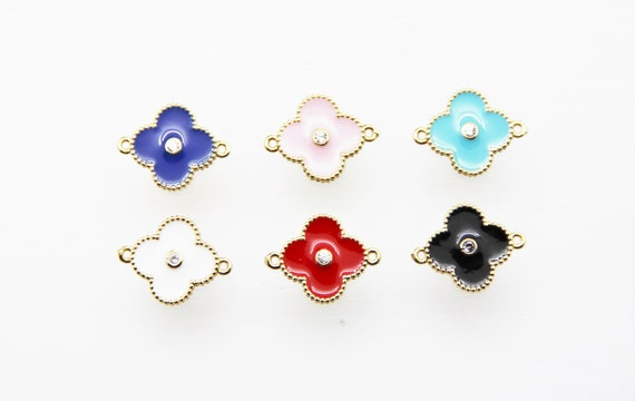 CZ Micro Pave Enamel 14mm Clover Connector