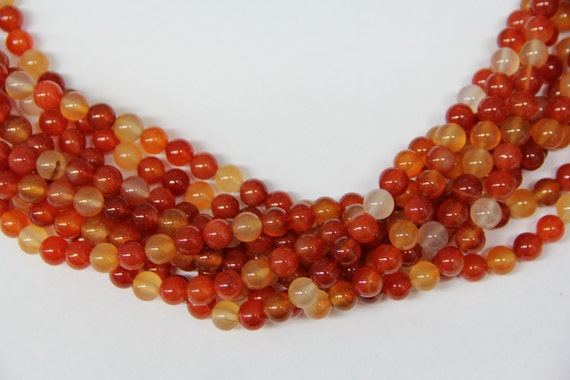 "Natural Agate 8mm smooth round beads 16"" length full strand"