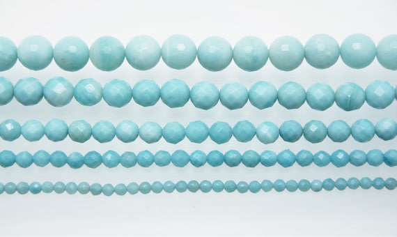 "Amazonite 4-12mm faceted round beads 16"" length strand"