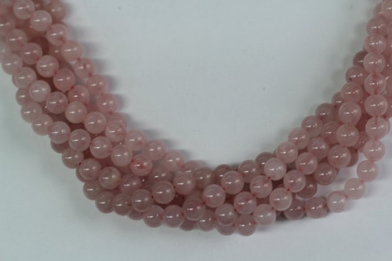 "Rose Quartz 8mm smooth round beads 16"" length full strand"