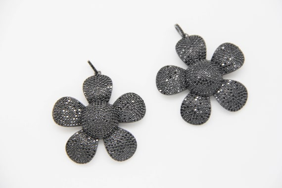 Black CZ Micro Pave 50mm Flower Pendant With CZ Bail