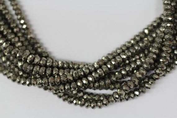 "Gold Pyrite 8mm faceted roundel beads 16"" length strand"