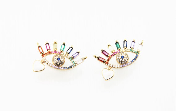 Mixed Color CZ Micro Pave 16x30mm Evil Eye Connectors For Necklace