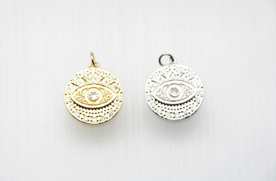 CZ Micro Pave 20mm Coin With Evil Eye Pendant