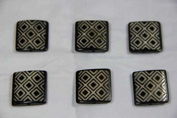 6 pcs Batik Bone Cross Rectangle Beads