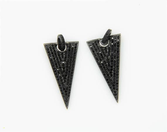 Black CZ Micro Pave 18x35mm  Triangle Pendant