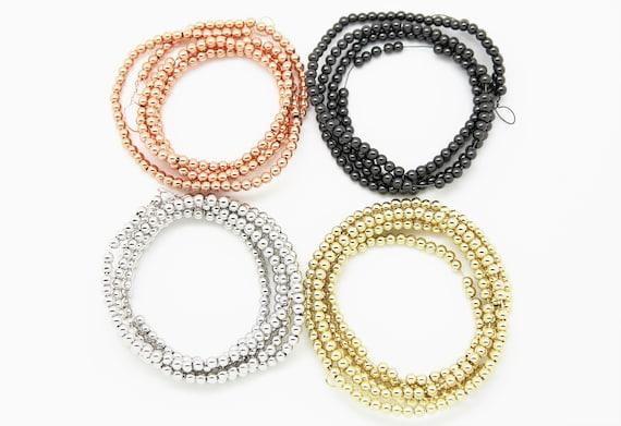 "250 Pieces Brass 4mm Round beads 32"" Length Strand"