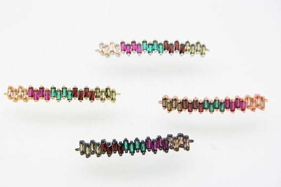 Mixed Color CZ Micro Pave 7x40mm Bar Connectors