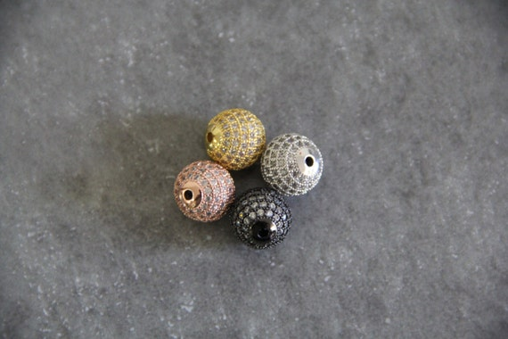 CZ Micro Pave 12mm Round beads
