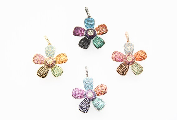 Pastel CZ Micro Pave 28mm Flower Pendant With CZ Bail