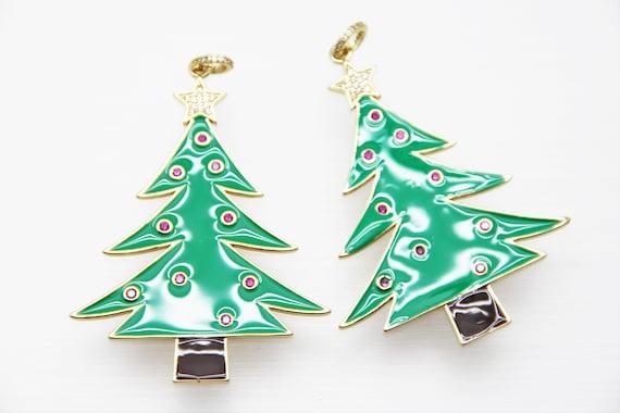 CZ Micro Pave Green Enamel 65mm Christmas Tree Pendant