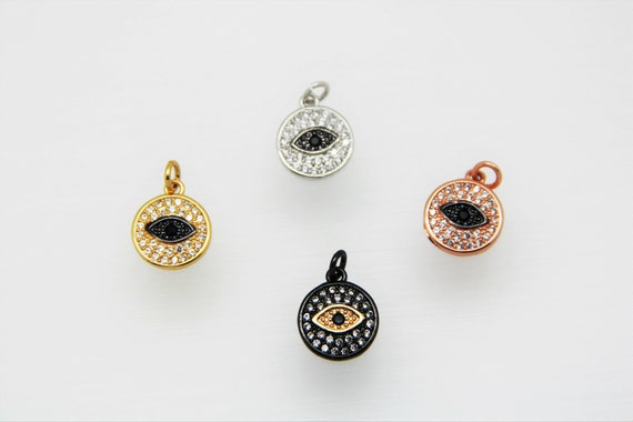 CZ Micro Pave 12mm Disc with Eye  Charm with Jump Ring