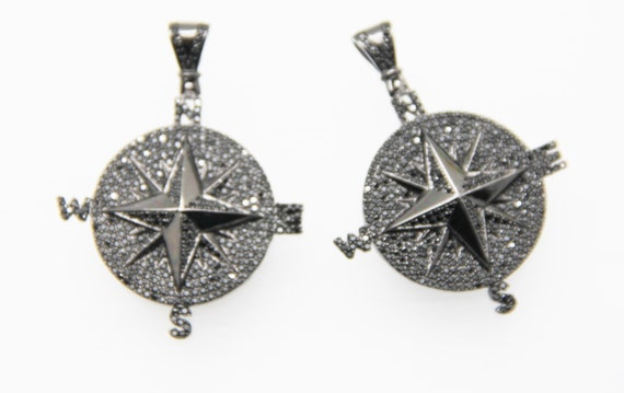 Black CZ Micro Pave 40mm  Compass Pendant