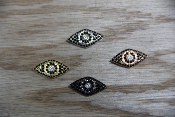 CZ Micro Pave 11x21mm Evil Eye Beads