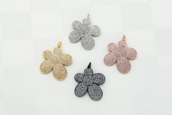 CZ Micro Pave 30mm Flower Pendant With Jupm Ring