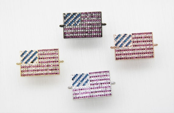 """Mixed CZ Micro Pave 15x22mm Flat Rectangle """"AMERICAN FLAG"""" Connectors With Loop"""