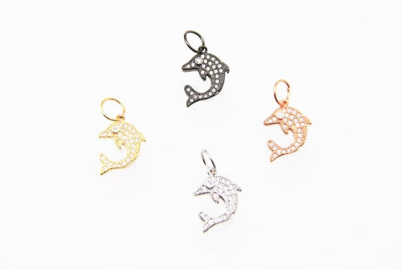 CZ Micro Pave 15mm Dolphin Charm with Jump Ring