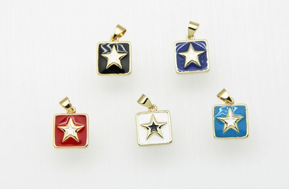 Enamel 12mm Square With Gold Star Charm