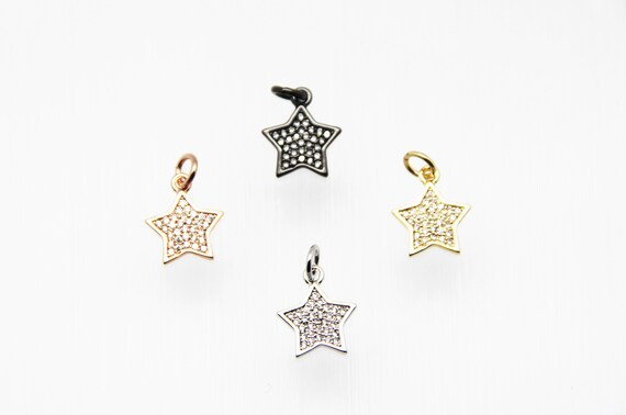 CZ Micro Pave 11mm Star Charm with Jump Ring