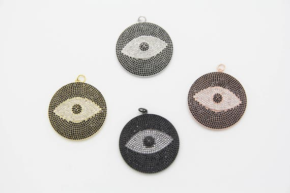 Black CZ Micro Pave 40mm  Disc Eye Pendant with CZ Bail