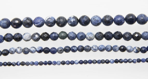 "Sodalite 4-10mm faceted round beads 16"" length strand"