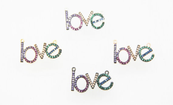 """Mixed Color CZ Micro Pave 18x35mm """"LOVE"""" Connectors For Necklace"""