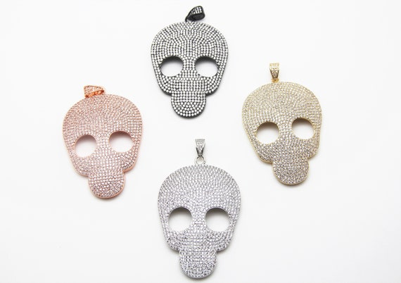 CZ Micro Pave 45x65mm Flat Skull Pendant With CZ Bail