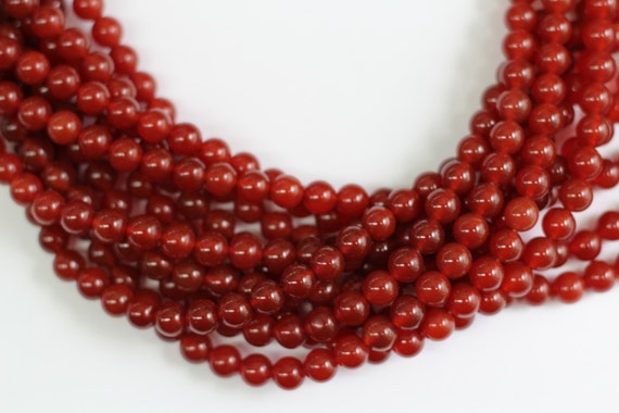 "Red Onyx 8mm smooth round beads 16"" length full strand"