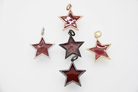 CZ Micro Pave Red Enamel 30mm Star
