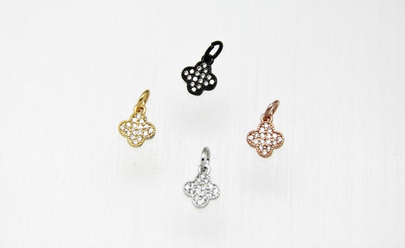 CZ Micro Pave 8mm Clover  Charm with Jump Ring