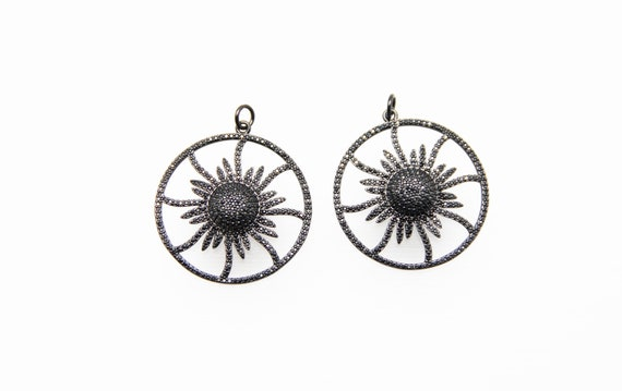 Black CZ Micro Pave 36mm Sun Flower Pendant