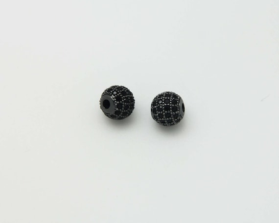 Black CZ Micro Pave 8mm Round beads