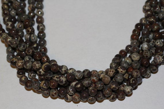 "Gray Leopard Skin Jasper 8mm smooth round beads 16"" length strand"