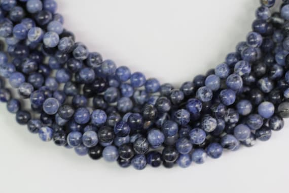 "Sodalite 8mm smooth round beads 16"" length full strand"