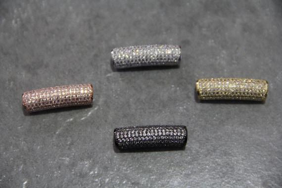 CZ Micro Pave 9x30mm Curve Tube