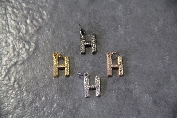 "CZ Micro Pave Letter ""H"" Charm with Jump Ring"