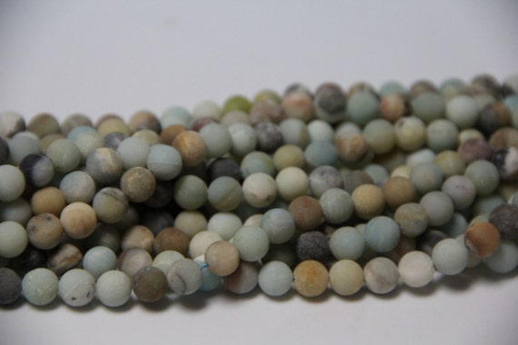 "Flower Amazonite 8mm smooth Matt Finish round beads 16"" length full strand"