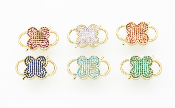 Color CZ Micro Pave 16x22mm Clover Gold Plated Double Open Clasp