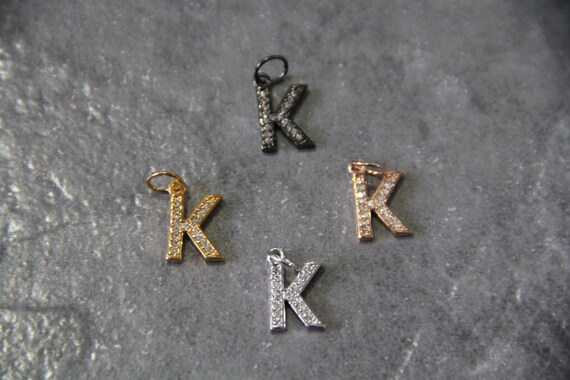 "CZ Micro Pave Letter ""K"" Charm with Jump Ring"