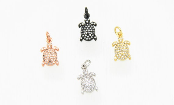 CZ Micro Pave 10x12mm Turtle Charm with Jump Ring