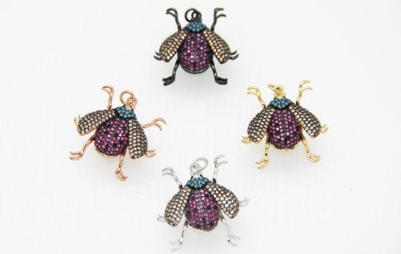 CZ Micro Pave 23x30mm Ladybug Pendant