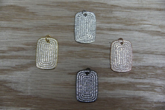 CZ Micro Pave 18x25mm  Rectangle Tag Pendant