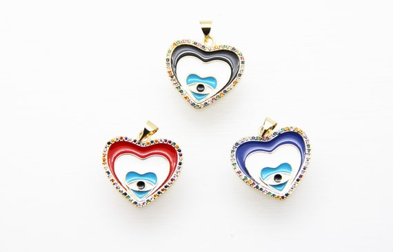 CZ Micro Pave Enamel 23mm Heart With Evil Eye Charm