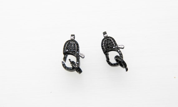 Black CZ Micro Pave 8x16mm Lobster Clasp