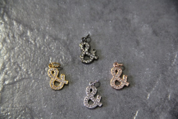 "CZ Micro Pave 10x15mm Symbol ""&""  Charm with Jump Ring"