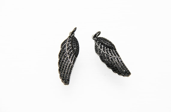 Black CZ Micro Pave 10x28mm Wing Pendant