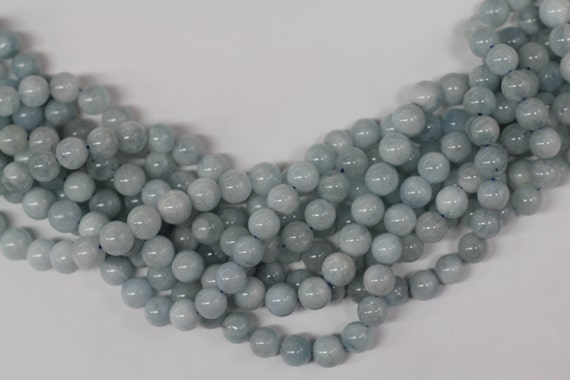 "Aquamarine 8mm smooth round beads 16"" length strand"